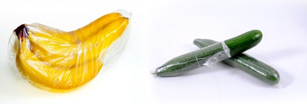 Banner and cucumber wrapped using plastic bag