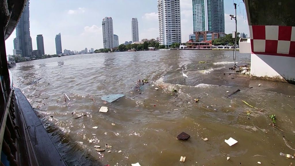 Plastic waste in the river